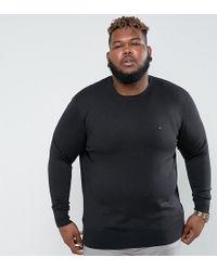 Tommy Hilfiger - Plus Crew Neck Jumper Cotton Silk In Black - Lyst