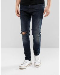 Just Junkies - Tapered Jeans In Dark Wash With Abrasions - Lyst