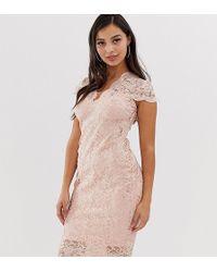edc20a4a1543 Flounce London - Vestito mdi in pizzo smerlato con paillettes e maniche ad  aletta rosa tenue