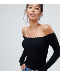 8cea0aa6413 ASOS - Asos Design Tall Off Shoulder Body With Long Sleeves And Lettucing  In Black -
