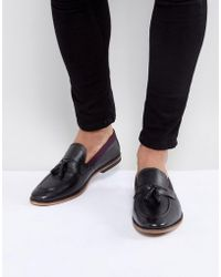 ASOS - Asos Tassel Loafers In Black Leather With Tape Detail - Lyst