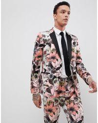 Lyst - ASOS Asos Super Skinny Suit Jacket In Burgundy Floral Print ... 181b76a172