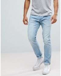 Solid - Slim Fit Jeans With Light Blue Wash - Lyst