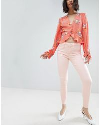 River Island - Molly Light Pink Skinny Jeans - Lyst