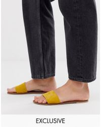 Accessorize - Leather Mustard Slip On Sandals - Lyst