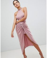 AX Paris | Ruched Maxi Dress With Side Split | Lyst