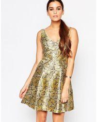 Adelyn Rae - Gold Skater Dress - Lyst