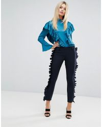 Closet - Smart Tailored Trouser With Frill Detail - Lyst