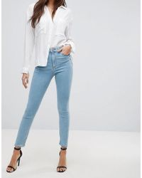 ASOS - Ridley High Waist Skinny Jeans In Bright Light Stone Wash - Lyst