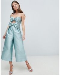 ASOS - Bow Jumpsuit In Structured Fabric - Lyst