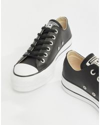 149d4aa12fc8 Converse - Chuck Taylor All Star Leather Platform Low Trainers In Black -  Lyst