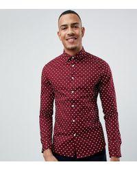 1478d51e225d Lyst - ASOS Skinny Polka Dot Shirt In Burgundy With Short Sleeves in ...