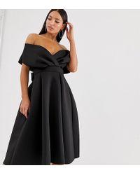 ASOS - Asos Design Tall Fallen Shoulder Prom Dress With Tie Detail - Lyst