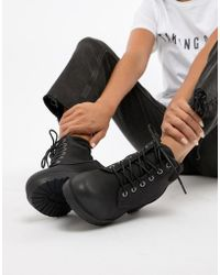 New Look - Lace Up Biker Flat Ankle Boot - Lyst