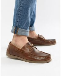 ASOS - Boat Shoes In Tan Leather With Gum Sole - Lyst