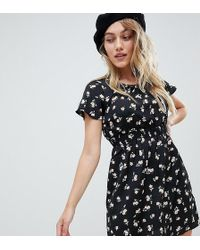 New Look - Ditsy Floral Dress In Black Pattern - Lyst