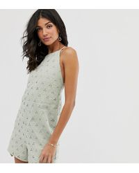 ASOS - Asos Design Tall Palm Broderie Playsuit - Lyst