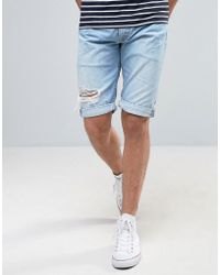 Pepe Jeans - Pepe Cash Regular Fit Denim Short Bleach Destroyed Wash - Lyst