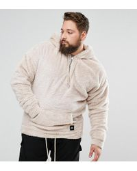 Sixth June - Plus Super Oversized Hoodie In Stone Fluffy Borg - Lyst