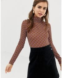 ASOS - High Neck Body With Long Sleeves In Geo Print - Lyst