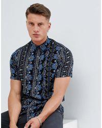ASOS - Regular Fit Crinkle Paisley Shirt In Blue - Lyst
