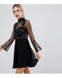 ASOS - Fluted Sleeve Embellished Dobby Skater Dress - Lyst