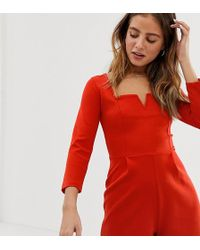 Bershka - Notch Front Playsuit In Red - Lyst