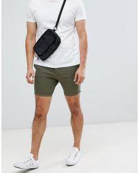 ASOS - Skinny Chino Shorts In Khaki - Lyst