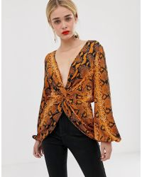 a14d6b585cb Criminal Damage Bethnal Cropped Long Sleeve Top in Orange - Lyst