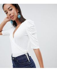 ASOS - Asos Design Tall Top With Puff Sleeve And Wrap Detail - Lyst