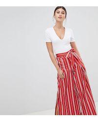 Boohoo - Stripe Side Split Wide Leg Trousers - Lyst