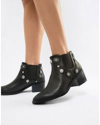 Pieces - Western Stud Chelsea Boot - Lyst