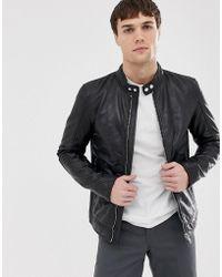 Barneys Originals - Barney's Originals Real Leather Biker - Lyst