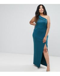 ASOS - One Shoulder Maxi With Exposed Zip - Lyst
