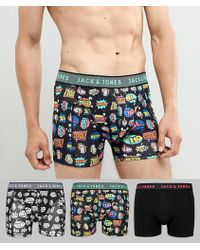 Jack & Jones - 3 Pack Trunks With Comic Print - Lyst