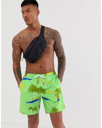 ASOS - Swim Shorts With Retro Dancing Girls In Mid Length - Lyst