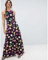 ASOS - Open Back Halter Maxi Dress In Fruit Print - Lyst