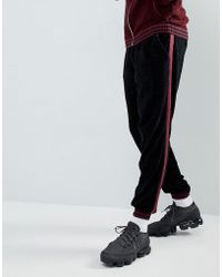 ASOS - Knitted Co-ord Chenille Joggers With Stripe In Burgundy - Lyst