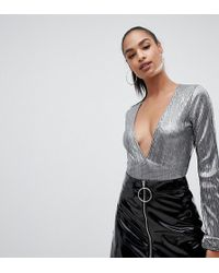 PrettyLittleThing - Plisse Plunge Body In Metallic Grey - Lyst