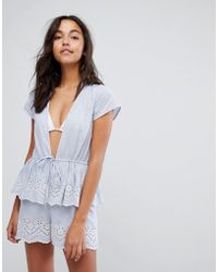 ASOS - Stripe Embroidered Frill Tiered Beach Playsuit - Lyst