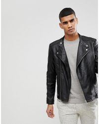 SELECTED - Leather Jacket - Lyst