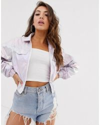 Missguided Cropped Jacket In Iridescent Lilac