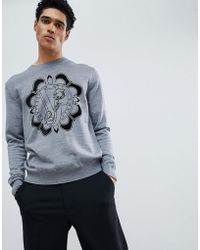 Versace Jeans - Jumper In Grey With Chest Logo - Lyst