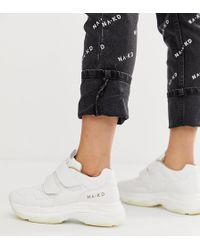 NA-KD - Chunky Trainers With Velcro Detail In White - Lyst