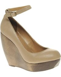 Shellys London - Shellys Caramel Wooden Wedge With Ankle Strap - Lyst