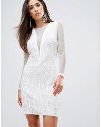 Forever Unique - Plunge V Neck Bodycon Dress - Lyst