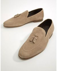 River Island - Suede Loafer With Tassel In Sand - Lyst