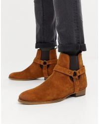 River Island - Suede Western Boots In Brown - Lyst