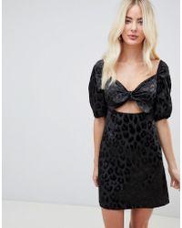 Fashion Union - Square Neck Tie Front Dress In Leopard - Lyst