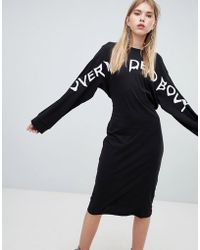 Cheap Monday - Long Sleeve Dress With Slogan - Lyst